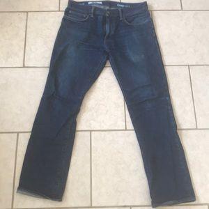 Men's dark wash jeans, straight fit